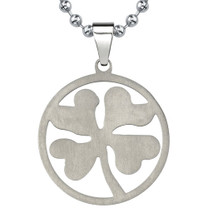 Titanium Brushed Finish Four-leaf Clover Pendant on a Stainless Steel Ball Chain Style SN8038
