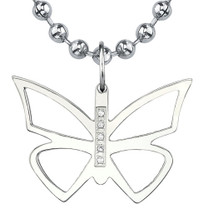 Titanium Brush Finish Butterfly Pendant with CZ on a Stainless Steel Ball Chain Style SN8066