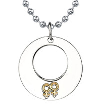Stainless Steel Gunmetal Circle Pendant with Double Female Insignias on a Steel Ball Chain Style SN8086