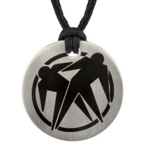 Surgical Stainless Steel Brushed Finish Circular Double Male Silhouette Pendant on a Black Cord Style SN8118