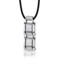 A-Lister Guy: Stainless Steel Rectangular Link Pendant on Rubber Cord Style SN8140