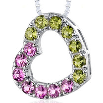 Sterling Silver 2.00 Carats Round Shape Pink Sapphire And Peridot Open Heart Pendant Style SP8168