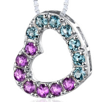 Sterling Silver 1.75 Carats Round Shape Amethyst And London Blue Topaz Open Heart Pendant Style SP8178