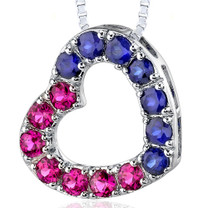 Sterling Silver 2.00 Carats Round Shape Ruby And Blue Sapphire Open Heart Pendant Style SP8184