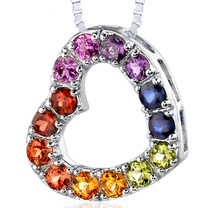 Sterling Silver 2.00 Carats Round Shape Rainbow Color Open Heart Pendant Style SP8186