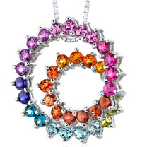 Sterling Silver 5.00 Carats Round Shape Rainbow Color Double Swirl Pendant Style SP8208
