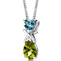 Sterling Silver 3.00 Carats Swiss Blue Topaz And Peridot Pendant Style SP8612