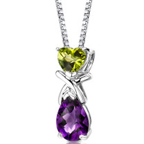 Sterling Silver 2.25 Carats Peridot And Amethyst Pendant Style SP8614