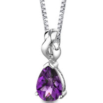 Sterling Silver 1.50 Carats Pear Shape Amethyst Pendant Style SP8628