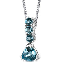 Sterling Silver 3.00 Carats Swiss Blue Topaz Pendant Style SP8698