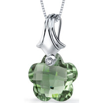Blooming Flower Cut 11.00 Carat Green Amethyst Necklace In Sterling Silver Style SP8840