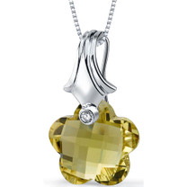Blooming Flower Cut 11.00 Carat Lemon Quartz Necklace In Sterling Silver Style SP8842