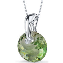 Spherical Cut 15.00 Carat Green Amethyst Necklace In Sterling Silver Style SP8846