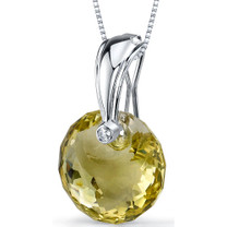 Spherical Cut 15.00 Carat Lemon Quartz Necklace In Sterling Silver Style SP8848