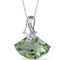 Spectacular Shell Cut 13.00 Carat Green Amethyst Necklace In Sterling Silver Style SP8858