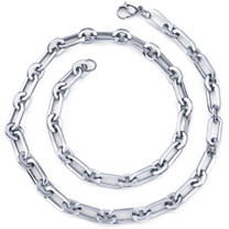 Simple Splendor: Unisex Stainless Steel Rectangular Link 20 Inch Chain Necklace Style SN8888
