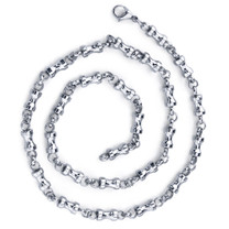 Youthful and Unique: Mens Stainless Steel Dumbbell Link 22 inch Chain Necklace Style SN8914
