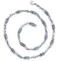 Vibrant Style: Mens Unique Stainless Steel Silver-tone Coiled Link 20 Inch Chain Necklace Style SN8934