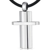 Simple Attraction: Unisex Stainless Steel Modern Cross Pendant Style SN8944