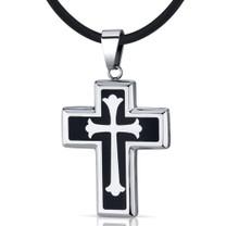 Medieval Faith: Stainless Steel Fleur-de-lis Medieval Cross Unisex Pendant Style SN8970