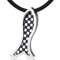 Trendy Impression: Unisex Stainless Steel Checkered Design Fish Slider Pendant Style SN8980