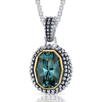 Barrel Cut 7.00 Carat Green Spinel Sterling Silver Antique Style Pendant Style SP9068