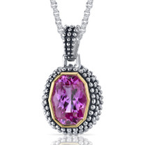 Barrel Cut 7.75 Carat Pink Sapphire Sterling Silver Antique Style Pendant Style SP9070