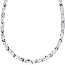 Rugged Appeal Titanium Mens Wave Pattern Flat Link 20 inch Chain Necklace Style SN9156