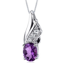Graceful Angel 1.00 Carats Oval Shape Sterling Silver Amethyst Pendant Style SP9160