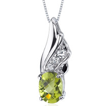 Graceful Angel 1.25 Carats Oval Shape Sterling Silver Peridot Pendant Style SP9164