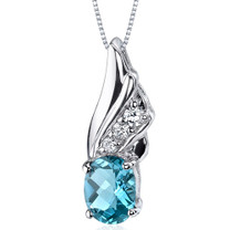 Graceful Angel 1.50 Carats Oval Shape Sterling Silver Swiss Blue Topaz Pendant Style SP9166