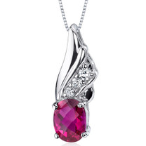 Graceful Angel 1.75 Carats Oval Shape Sterling Silver Ruby Pendant Style SP9170