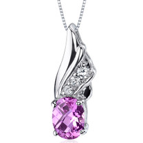 Graceful Angel 1.75 Carats Oval Shape Sterling Silver Pink Sapphire Pendant Style SP9174