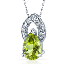 Captivating Allure 1.25 Carats Pear Shape Sterling Silver Peridot Pendant Style SP9288