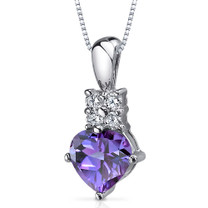 Captivating Love 1.75 Carats Heart Shape Sterling Silver Alexandrite Pendant Style SP9372