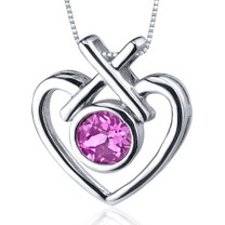 Art Of Love 1.25 Carats Round Cut Sterling Silver Pink Sapphire Pendant Style SP9548