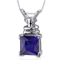 Boldly Regal 3.25 Carats Princess Cut Sterling Silver Blue Sapphire Pendant Style SP9912