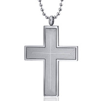 Immaculate Elegance: Engraved Line Pattern Stainless Steel Unisex Cross Pendant Style SN10114