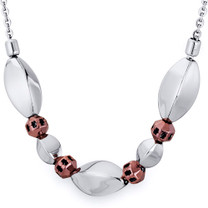 Coffee Tone Convex Oval Bead Stainless Steel Necklace Style SN10220