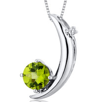 Crescent Moon Design 1.00 Carats Round Cut Sterling Silver Peridot Pendant Style SP10268