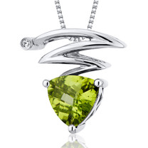 Electrifying Lightning Bolt 1.25 Carats Trillion Cut Sterling Silver Peridot Pendant Style SP10286