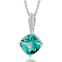 Pave Set 4.00 Carats Cushion Cut Sterling Silver Green Spinel Pendant Style SP10300