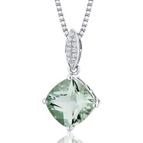 Pave Set 2.75 Carats Cushion Cut Sterling Silver Green Amethyst Pendant Style SP10302