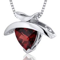 1.00 Carats Trillion Cut Sterling Silver Garnet Pendant Style SP10346