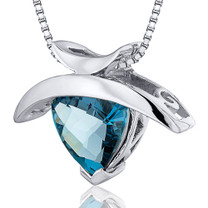 1.00 Carats Trillion Cut Sterling Silver London Blue Topaz Pendant Style SP10358