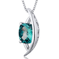 Intricate 2.00 Carats Radiant Cut Sterling Silver Alexandrite Pendant Style SP10386