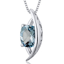 Intricate 1.25 Carats Radiant Cut Sterling Silver Aquamarine Pendant Style SP10396