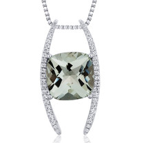 Slider Style Large 4.50 Carats Cushion Cut Sterling Silver Green Amethyst Pendant Style SP10450