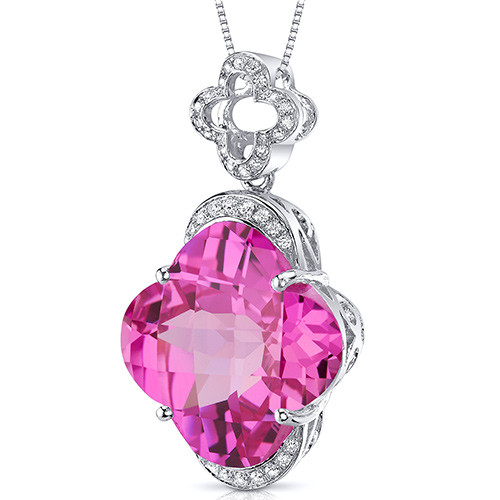 f594bf576ff0d Lilly Cut Large 22.00 Carats Sterling Silver Pink Sapphire Pendant ...