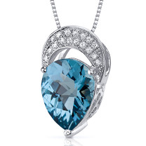 Elegant Tear Drop 2.50 Carats Pear Shape Sterling Silver London Blue Topaz Pendant Style SP10538